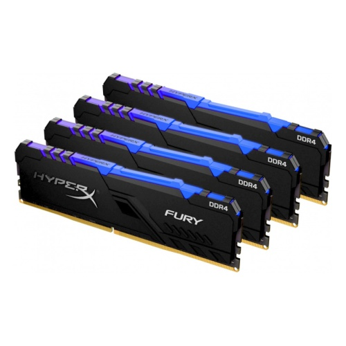 DDR 4 DIMM 32Gb PC25600, 3200Mhz, Kingston HyperX FURY RGB CL16 (Kit of 4) (HX432C16FB3AK4/32) (retail)